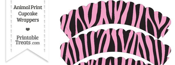Baby Pink Zebra Print Scalloped Cupcake Wrappers