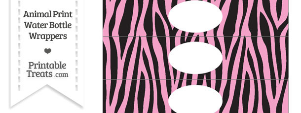 Baby Pink Zebra Print Water Bottle Wrappers