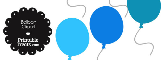 Balloon Clipart in Shades of Blue