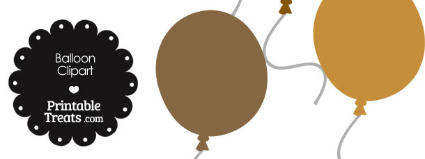 Balloon Clipart in Shades of Brown