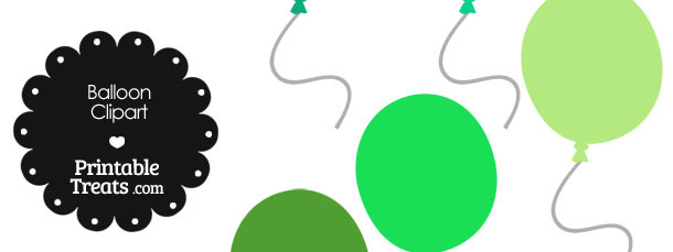 Balloon Clipart in Shades of Green