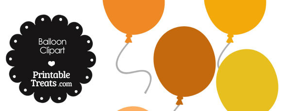 Balloon Clipart in Shades of Orange