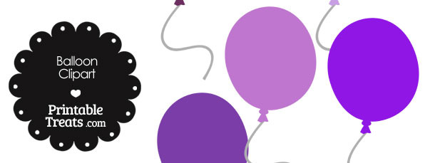 Balloon Clipart in Shades of Purple
