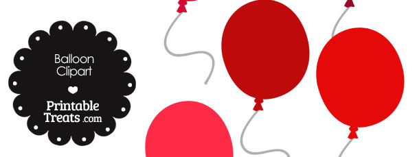 Balloon Clipart in Shades of Red