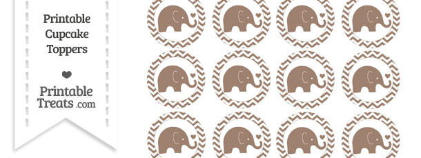 Beaver Brown Baby Elephant Chevron Cupcake Toppers