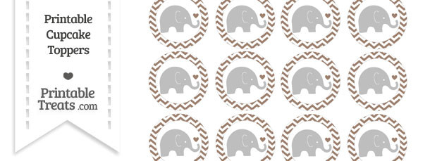 Beaver Brown Chevron Baby Elephant Cupcake Toppers