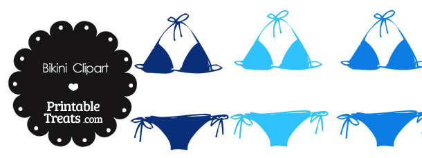 Bikini Clipart in Shades of Blue