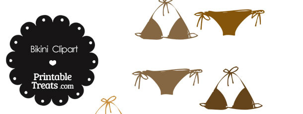 Bikini Clipart in Shades of Brown