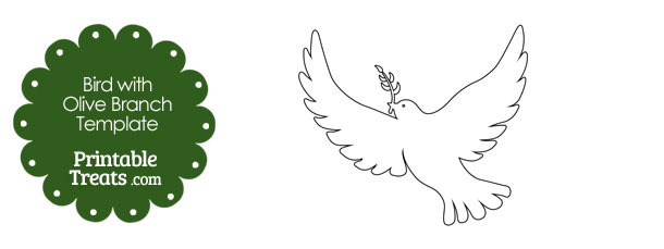 Bird with Olive Branch Template