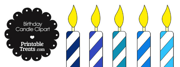 Birthday Candle Clipart in Shades of Blue