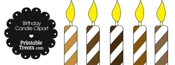 Birthday Candle Clipart in Shades of Brown