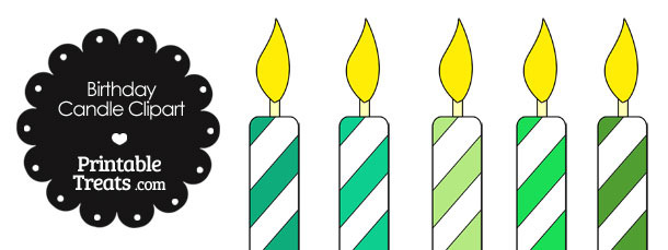 Birthday Candle Clipart in Shades of Green