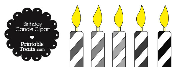Birthday Candle Clipart in Shades of Grey