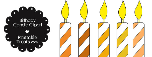 Birthday Candle Clipart in Shades of Orange