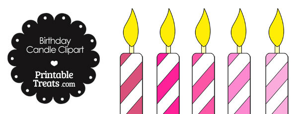Birthday Candle Clipart in Shades of Pink