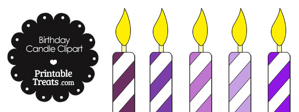 Birthday Candle Clipart in Shades of Purple