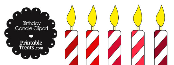 Birthday Candle Clipart in Shades of Red