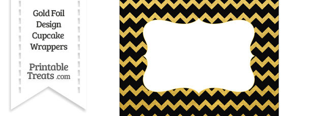 Black and Gold Foil Chevron Chocolate Bar Wrappers