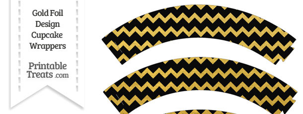 Black and Gold Foil Chevron Cupcake Wrappers