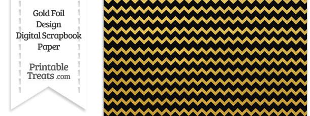 Black and Gold Foil Chevron Digital Scrapbook Paper
