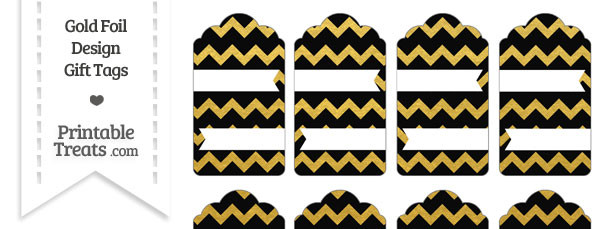 Black and Gold Foil Chevron Gift Tags