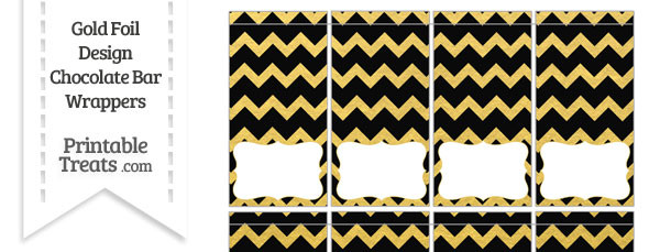 Black and Gold Foil Chevron Mini Chocolate Bar Wrappers