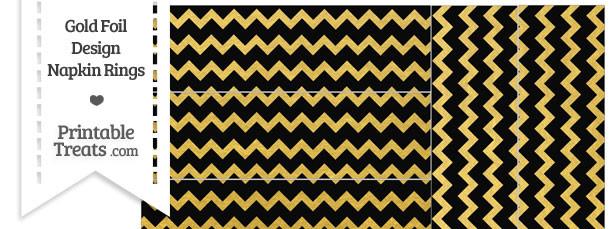 Black and Gold Foil Chevron Napkin Rings