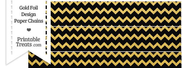 Black and Gold Foil Chevron Paper Chains