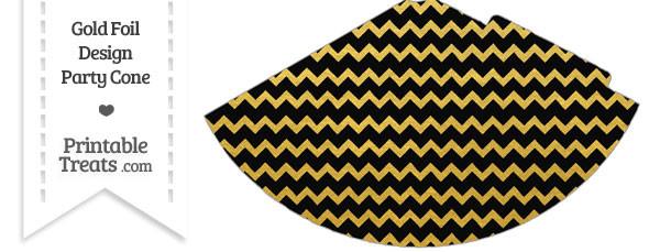 Black and Gold Foil Chevron Party Cone