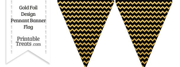 Black and Gold Foil Chevron Pennant Banner Flag