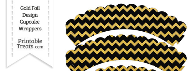 Black and Gold Foil Chevron Scalloped Cupcake Wrappers