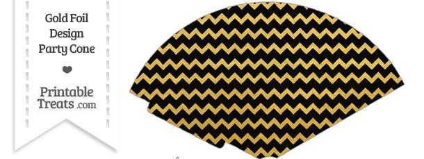 Black and Gold Foil Chevron Treat Cone