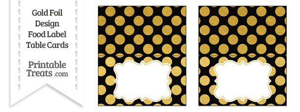 Black and Gold Foil Dots Food Labels