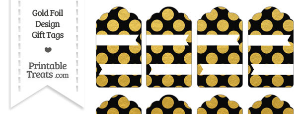 Black and Gold Foil Dots Gift Tags