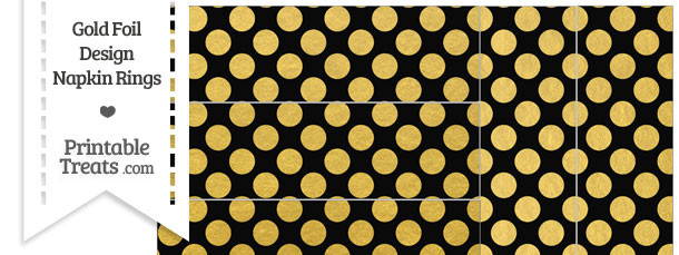 Black and Gold Foil Dots Napkin Rings