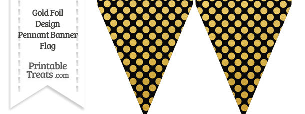 Black and Gold Foil Dots Pennant Banner Flag