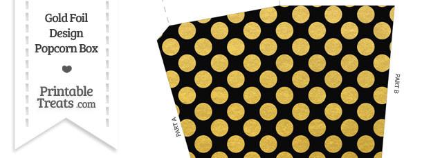 Black and Gold Foil Dots Popcorn Box