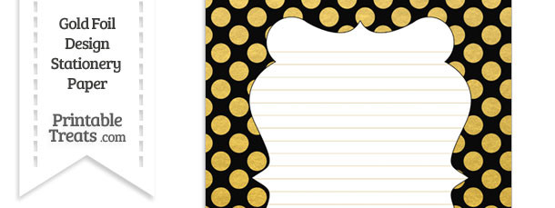 Black and Gold Foil Dots Stationery Paper