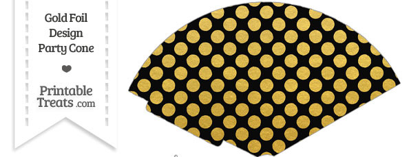 Black and Gold Foil Dots Treat Cone