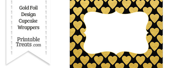Black and Gold Foil Hearts Chocolate Bar Wrappers