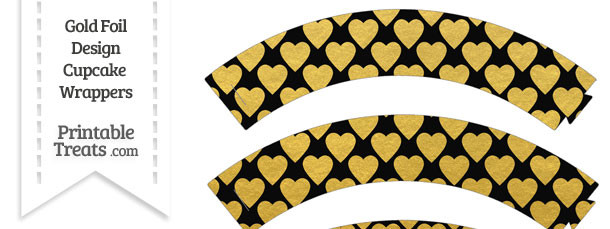 Black and Gold Foil Hearts Cupcake Wrappers