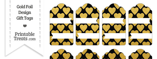 Black and Gold Foil Hearts Gift Tags