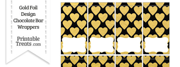 Black and Gold Foil Hearts Mini Chocolate Bar Wrappers