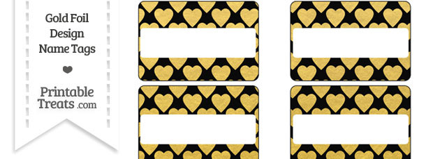 Black and Gold Foil Hearts Name Tags