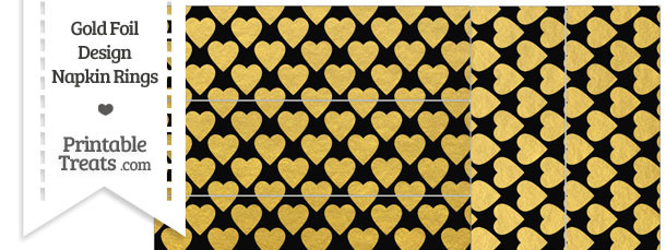 Black and Gold Foil Hearts Napkin Rings