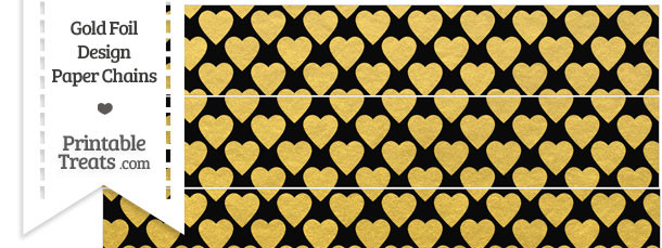 Black and Gold Foil Hearts Paper Chains