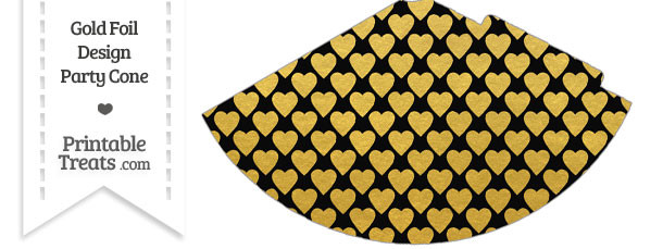 Black and Gold Foil Hearts Party Cone
