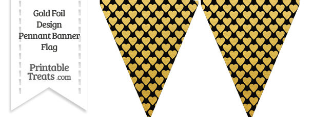 Black and Gold Foil Hearts Pennant Banner Flag