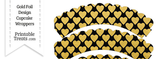 Black and Gold Foil Hearts Scalloped Cupcake Wrappers