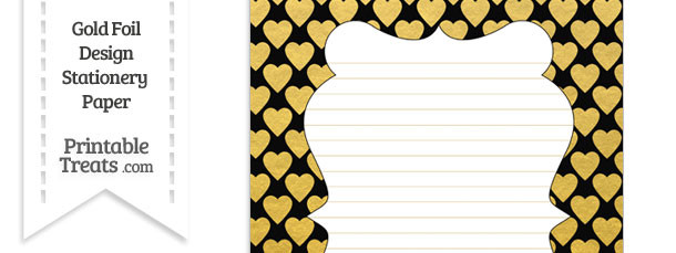 Black and Gold Foil Hearts Stationery Paper